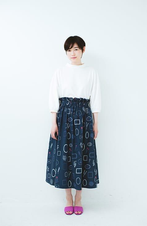 綿麻総柄プリントスカート