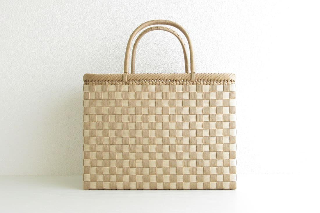 籠工よしむらさんの市松模様のかごバッグ