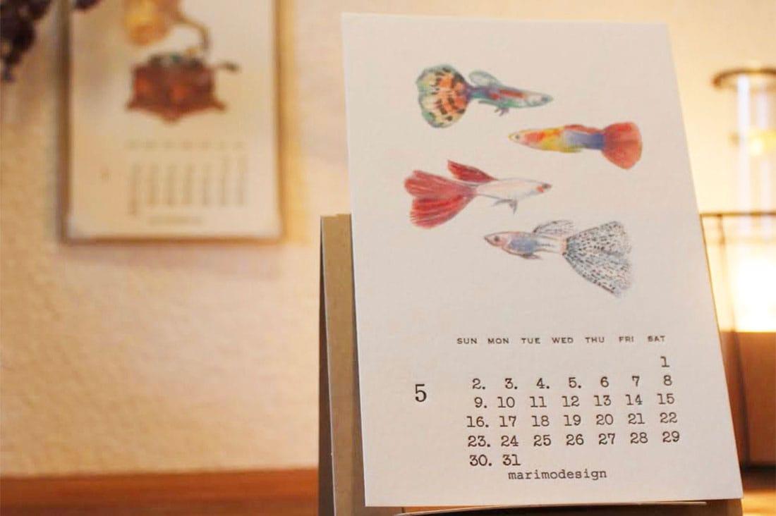 marimodesignさんの活版印刷水彩画カレンダー