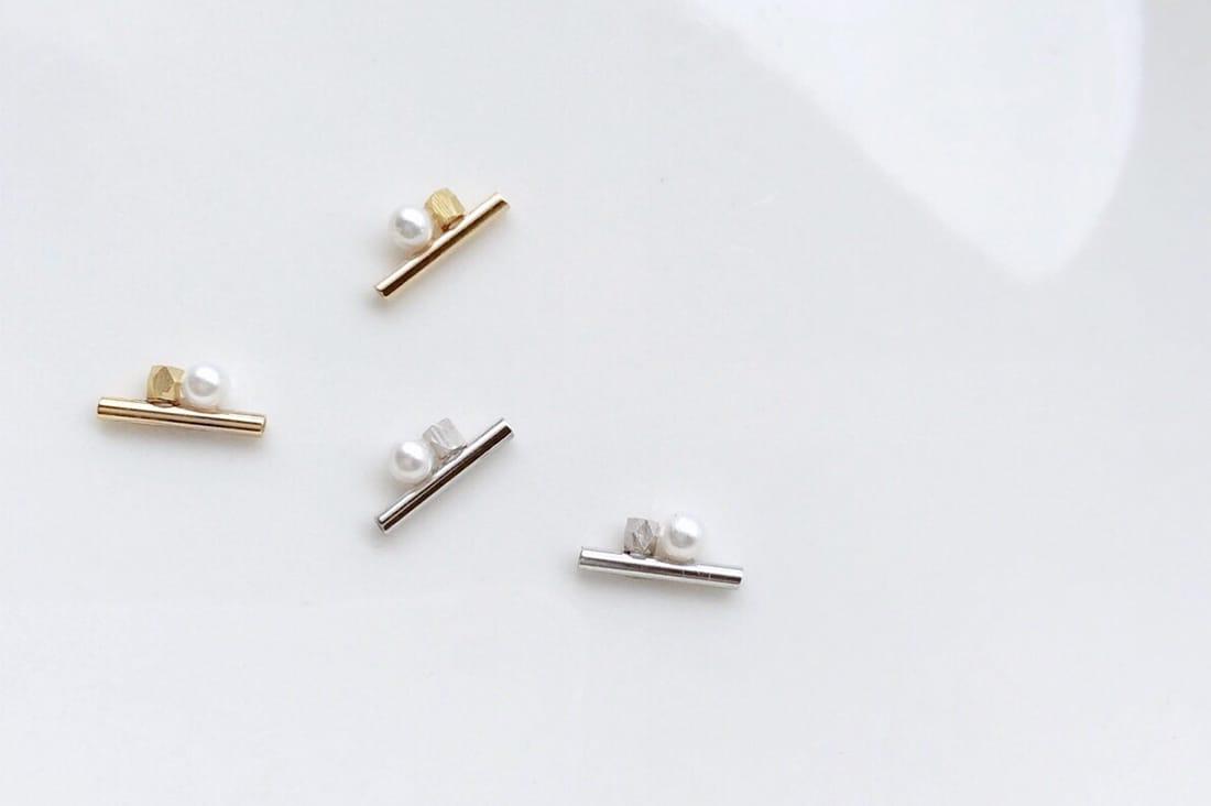 minoble〜ミノーブル〜さんのmat beads mini pipe×mini pearl ピアス