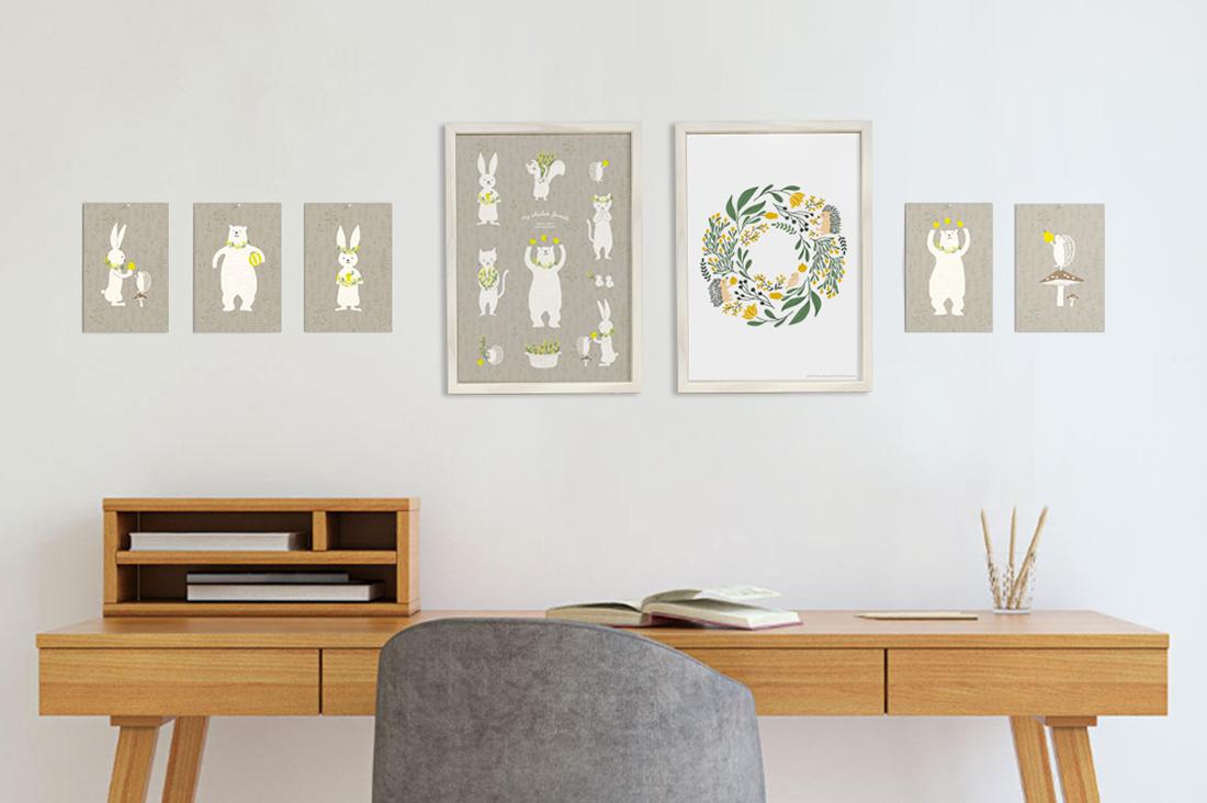 watanabe saekoさんのミモザのポスター&ポストカードセット