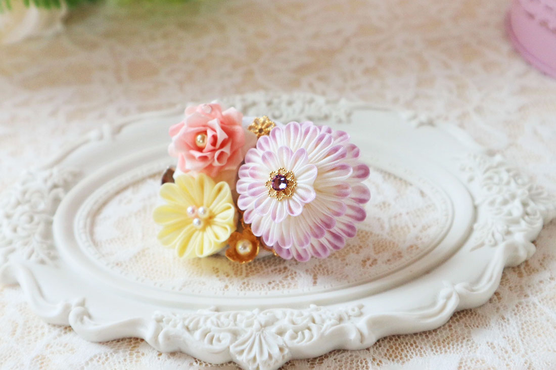 flowerrepureさんの花手鞠クリップ