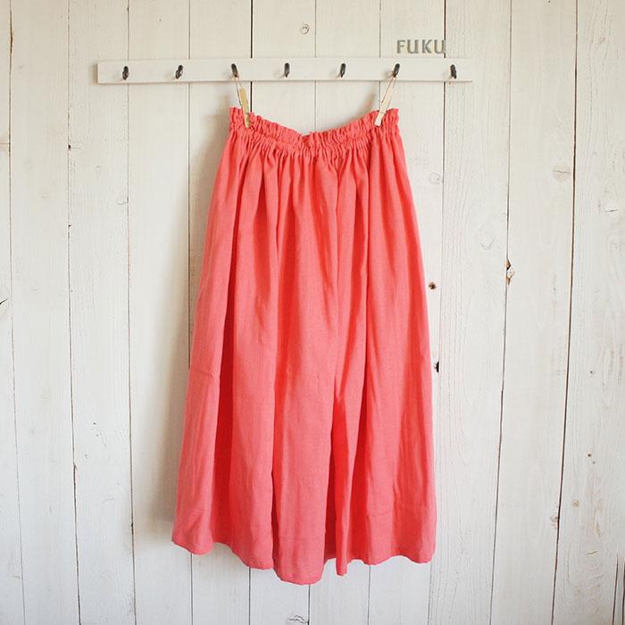make-fukuさんのコーラルピンクのダブルガーゼギャザースカート