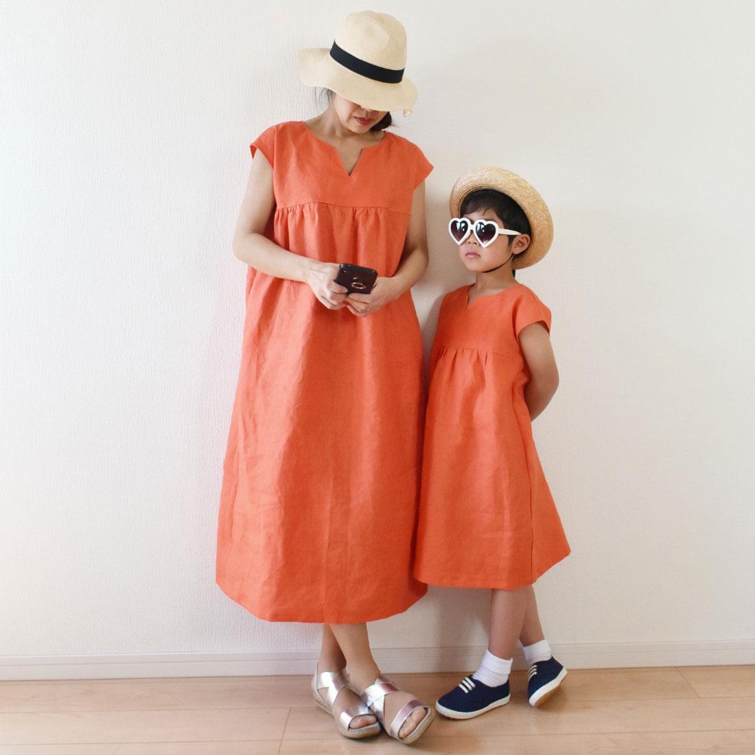 omusubi-fiveさんの親子お揃いオレンジリネン100%ワンピース
