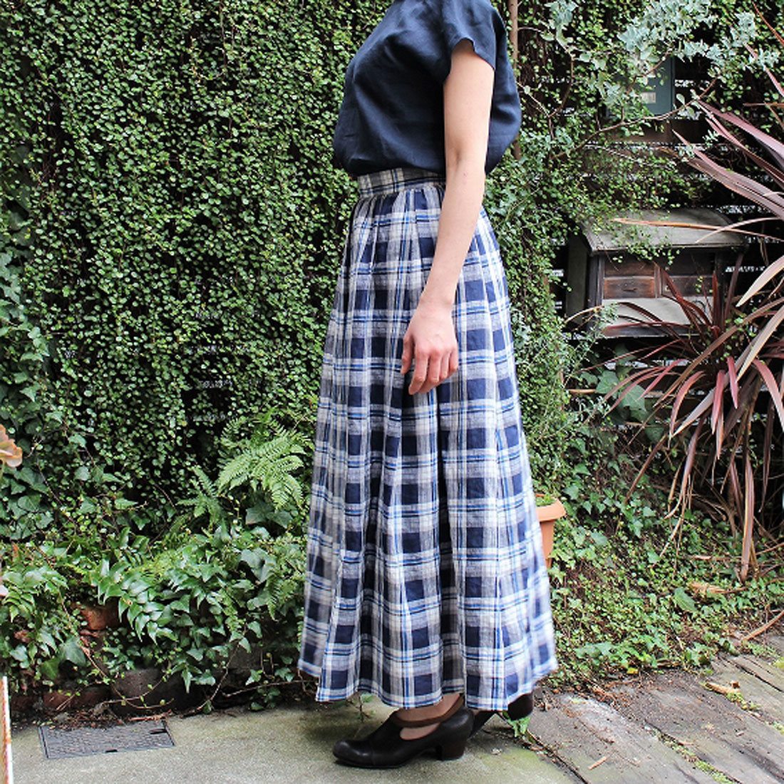 by500さんのリネンロングギャザースカート