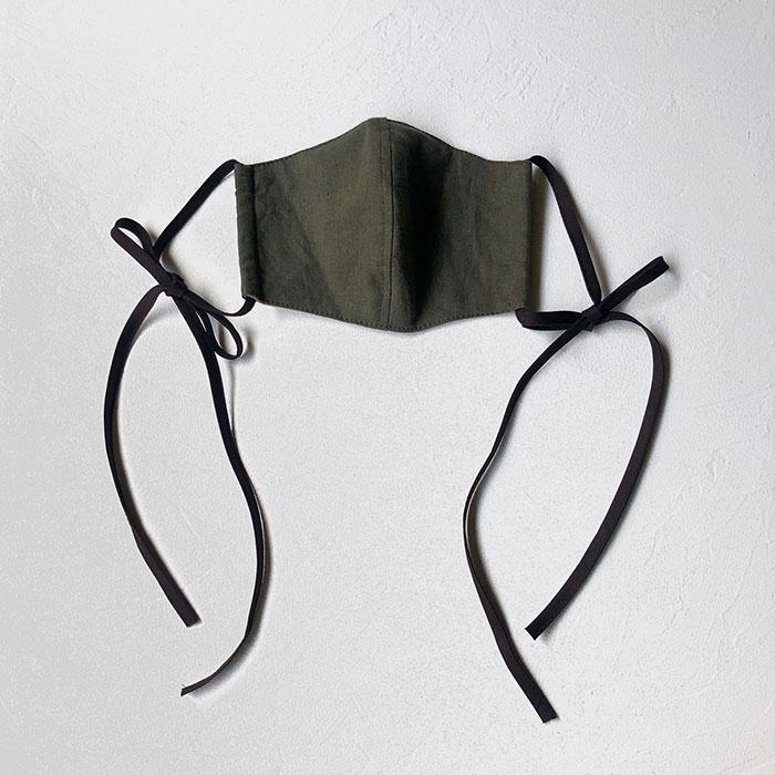 agumiさんのリネンとトリプルガーゼのリボンマスク