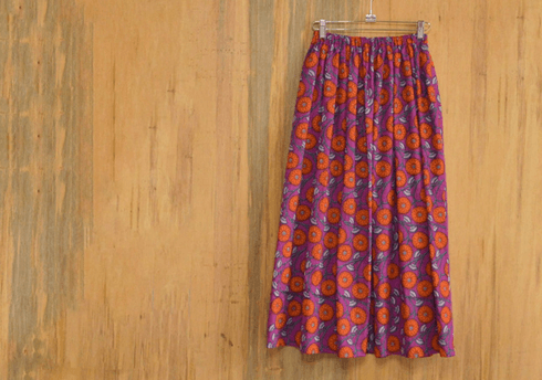 PURPLE FLOWER LONG SKIRT