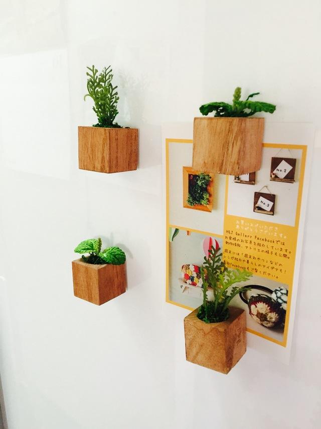 小さな植木鉢マグネット4個セット*グリーン