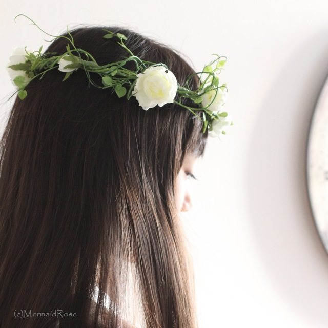 花冠ラナンキュラス&ハートリーフ(白)