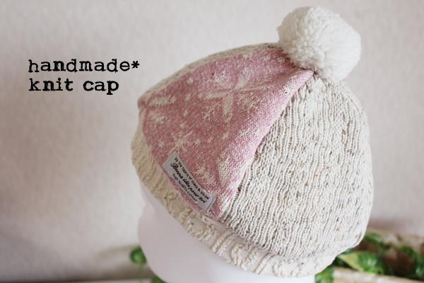 *まんまるどんぐりニット帽*50*ピンク雪の結晶*