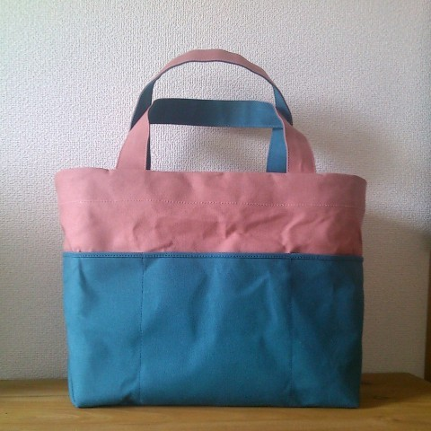 「bicolor tote M」 pink×bluegray