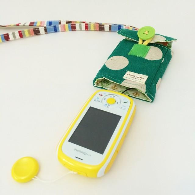 【ぷるる・キッズ向けケータイカバー(ポケット付)】水玉×ダマスク(グリーン×グリーン)PTD0022