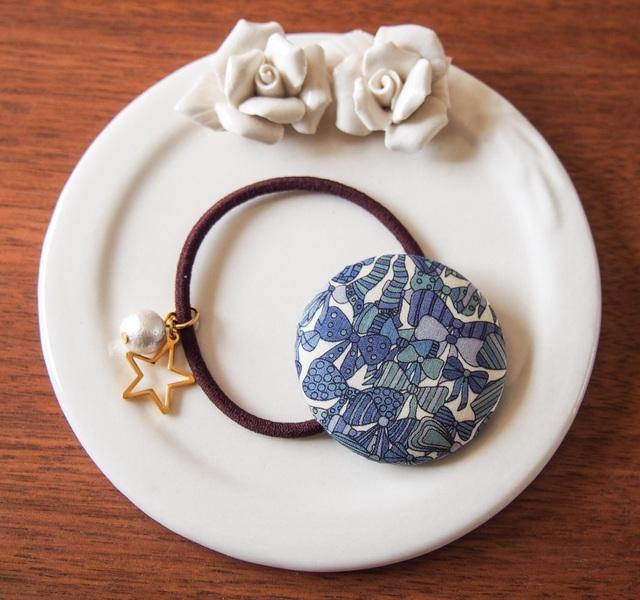 リバティ☆ Jenny's Ribbons くるみボタンヘアゴム ブルー
