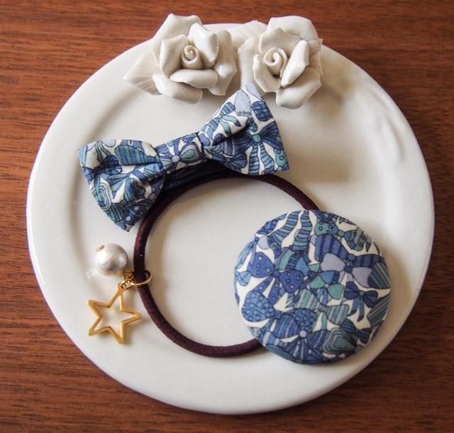ママとお揃いリバティ☆ Jenny's Ribbons オシャレセット ブルー