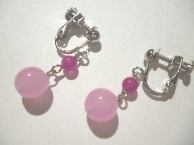カルセドニーチェリーピンクのイヤリング