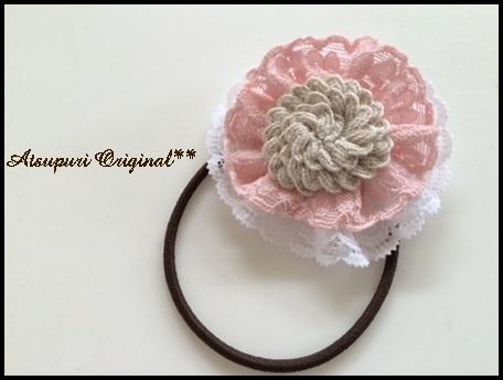 ヘアゴム☆ピンクホワイトWレースフラワーリネン