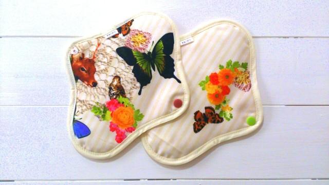 可愛い布ナプキン『バタフライ』昼用Mサイズ2枚set