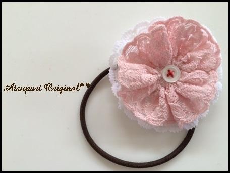ヘアゴム☆ピンクホワイトWレースボタン