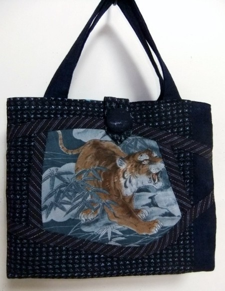 着物リメイク 絣と藍で作った手提げ袋 742