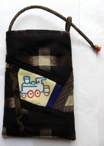 着物リメイク 格子の着物で作ったスマホケース 743