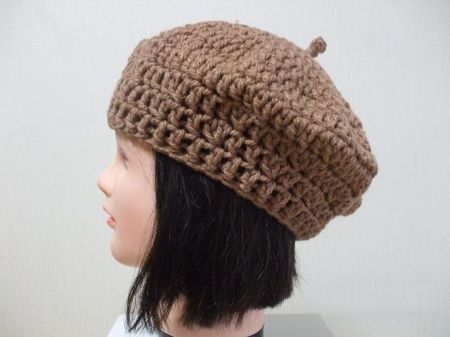 ニットベレー帽 成人女性用 モカ茶 アクリル100%