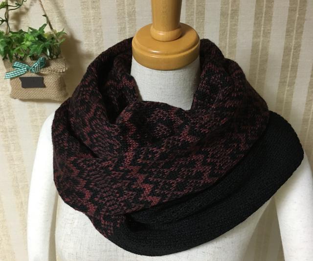 編み込みスヌード 赤茶系&黒