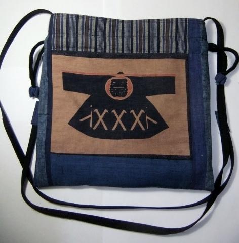 着物リメイク 土佐紬と染の半纏柄で作った巾着袋 747