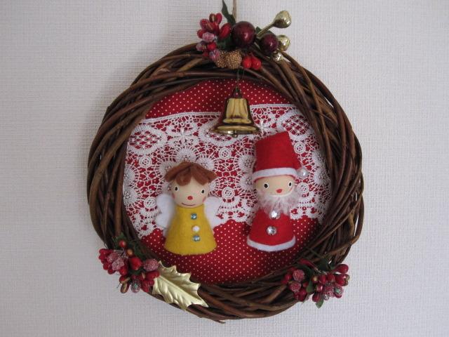 サンタと天使のクリスマスリース 赤