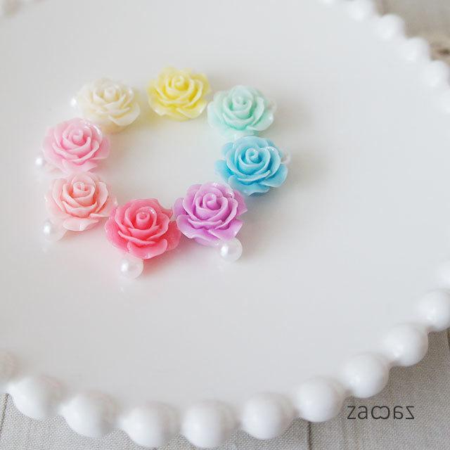 【販売終了】薔薇とパール雫のクリップイヤリング