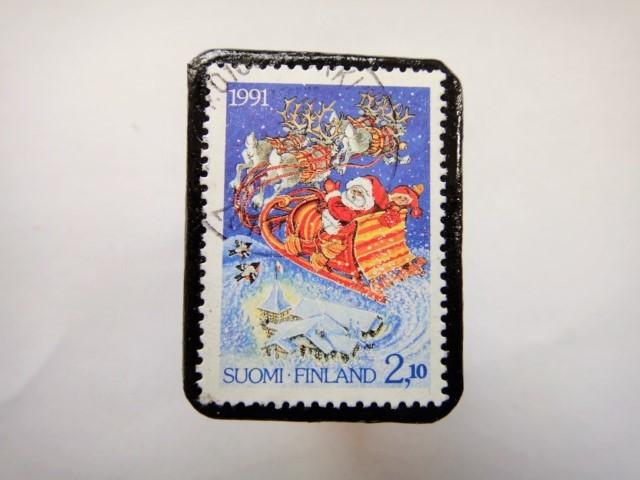 フィンランド クリスマス切手ブローチ314