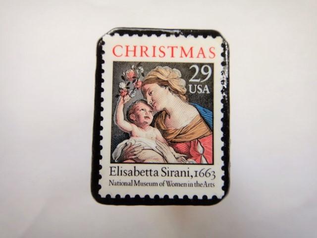 アメリカ クリスマス切手ブローチ 318