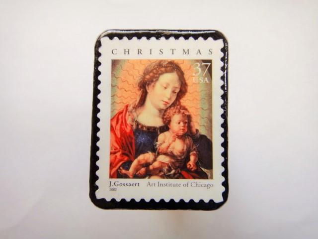 アメリカ クリスマス切手ブローチ 319