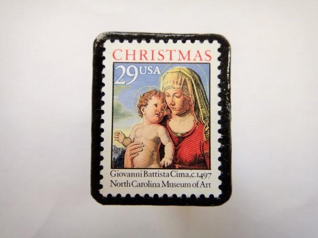 アメリカ クリスマス切手ブローチ 321