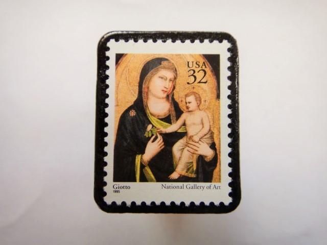アメリカ クリスマス切手ブローチ 322