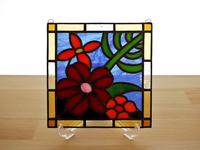 ステンドグラス ミニパネル 南国の花 15cm