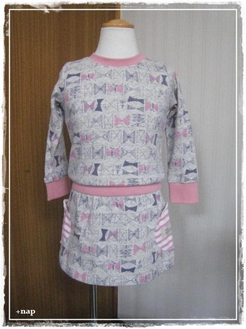 リボン&バタフライ長そでTシャツワンピース(ピンク)・100