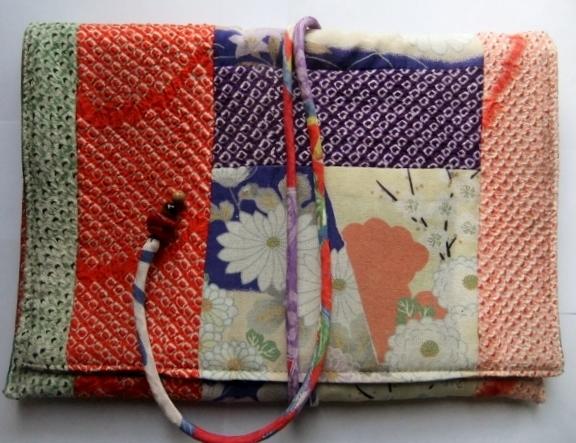絞りの羽織と縮緬の着物で作った和風バック 753