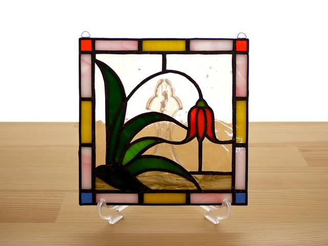 ステンドグラス ミニパネル 野草 15cm