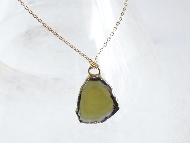 14KGF Tourmaline Slice Necklace