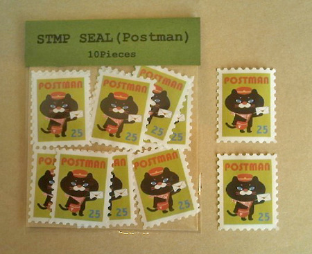 切手型水貼りシール(ねこの郵便屋さん・グリーン)
