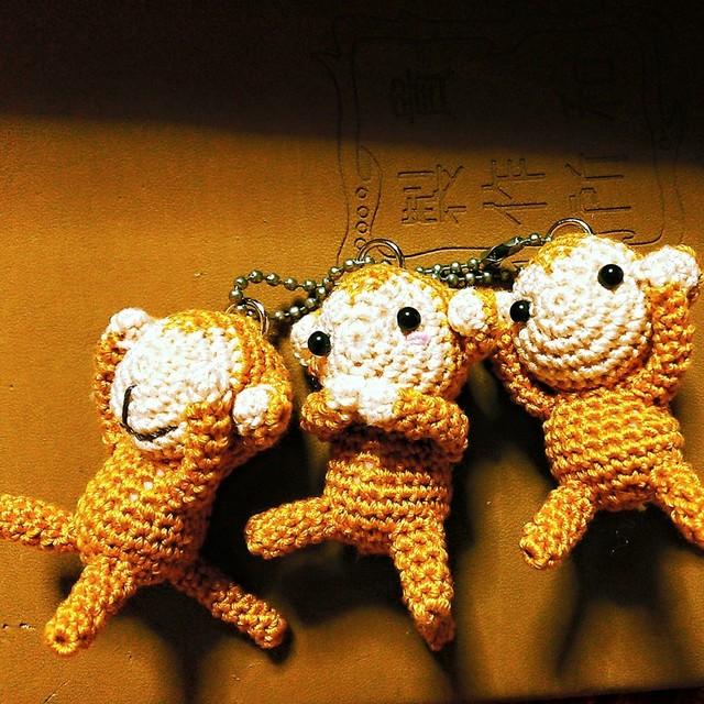 ミニミニ 編みぐるみ 三猿