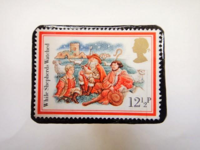 イギリス クリスマス切手ブローチ332