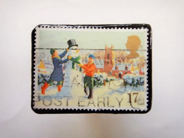 イギリス クリスマス切手ブローチ334