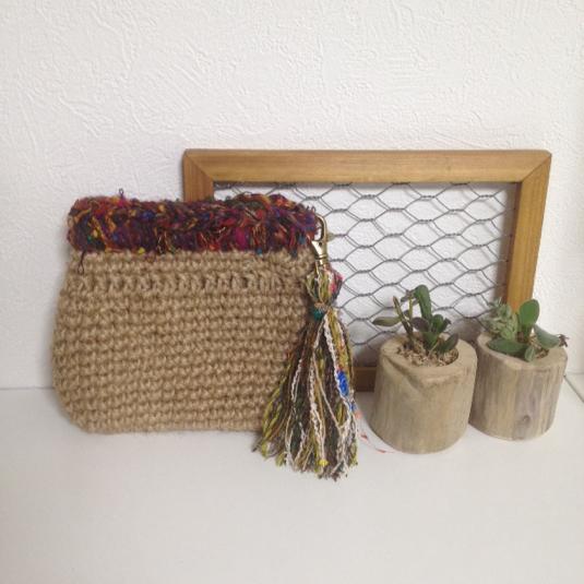 【ご予約品】麻紐とエスニック引き揃え糸のバネポーチ