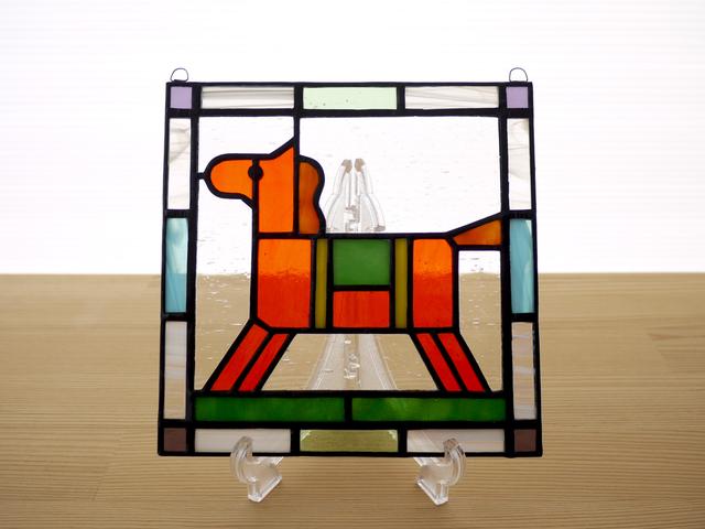 ステンドグラス ミニパネル 馬(c) 15cm