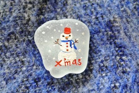 シーグラスアート 雪だるま ミンネのクリスマス2015