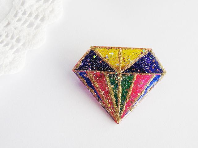 ダイヤモンドデザインブローチ:C