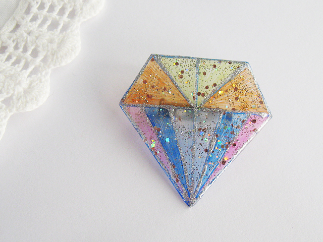 ダイヤモンドデザインブローチ:E