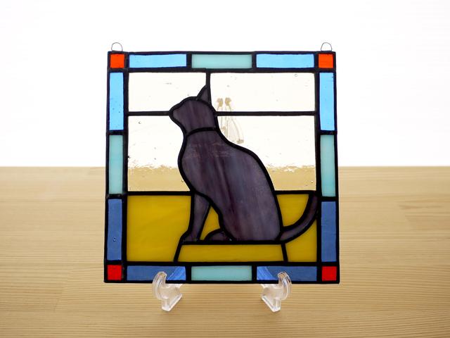 ステンドグラスパネル 猫(d) 15cm