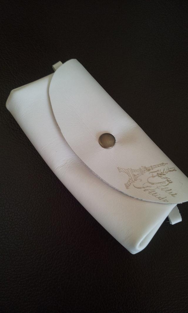 牛革アコーディオンポーチホワイト